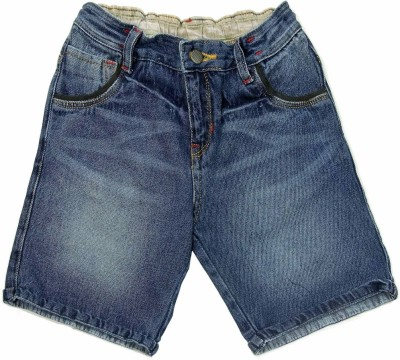 NASCENT Solid Baby Boy,s Dark Blue Denim Shorts