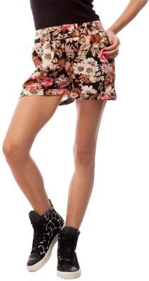 Orous Floral Print Women,s Multicolor Basic Shorts