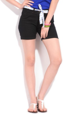 Style Quotient by Noi Solid Women's Black Shorts