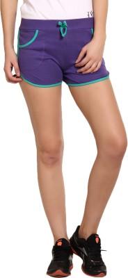 Yogaandsportswear Solid Women's Purple Sports Shorts