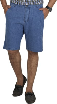 Inspired By Boardriding Solid Men's Denim Blue Basic Shorts