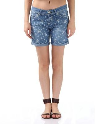 Monte Carlo Printed Women's Denim Blue Denim Shorts