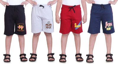 Dongli Printed Boy's Black, Grey, Red, Dark Blue Sports Shorts