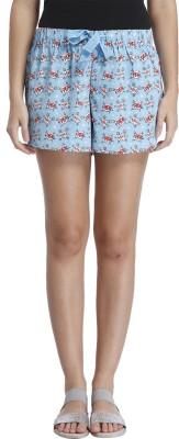 Vero Moda Printed Women's Blue Boxer Shorts
