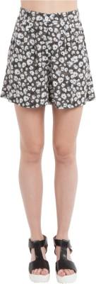 SbuyS Floral Print Women's Black Basic Shorts