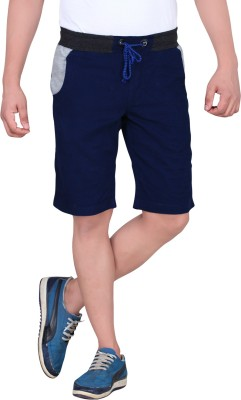 King & I Solid Men's Blue Chino Shorts