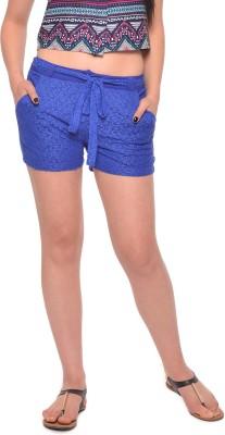 Vvoguish Self Design Women's Blue Basic Shorts at flipkart