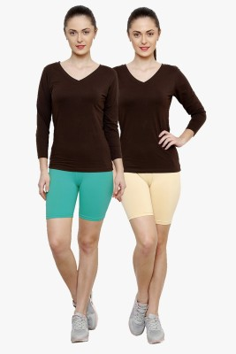 Softrose Solid Women's Light Green, Beige Cycling Shorts