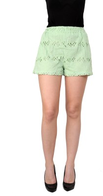 I Am For You Embroidered Women's Green Basic Shorts