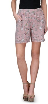 Curvy Q Floral Print Women's Pink Basic Shorts