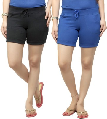 By The Way Solid Women's Black, Blue Basic Shorts, Beach Shorts, Cycling Shorts, Night Shorts