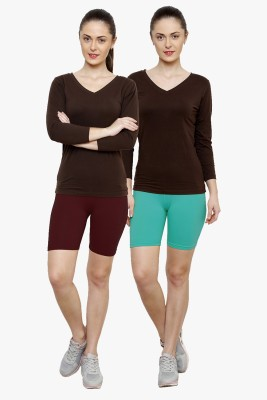 Softrose Solid Women's Maroon, Light Green Cycling Shorts