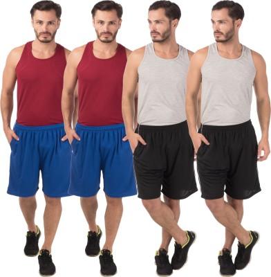 Meebaw Self Design Men,s Blue, Blue, Black, Black Sports Shorts