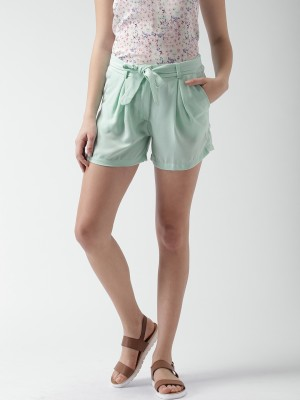 Mast & Harbour Solid Women's Green Basic Shorts