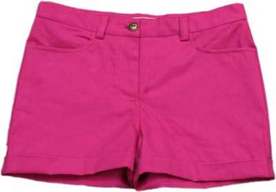 My Little Lambs Solid Girl's Pink Basic Shorts