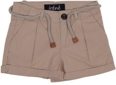 Irene Solid Girl's Beige Hotpants
