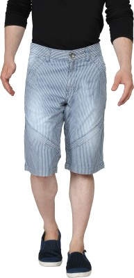 Ripfly Striped Men's Blue Basic Shorts