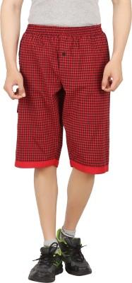 Sixer Knitting Checkered Men,s Red Basic Shorts