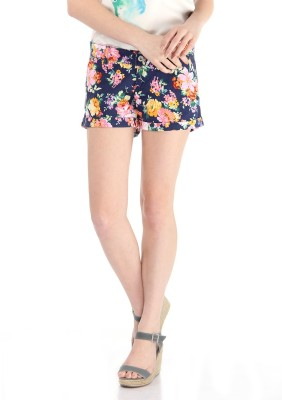 Pepe Jeans Floral Print Women's Blue Basic Shorts