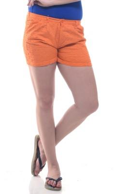 Lyla Embroidered Women's Orange Basic Shorts