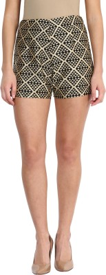 Miss Chase Geometric Print Women's Black High Waist Shorts at flipkart