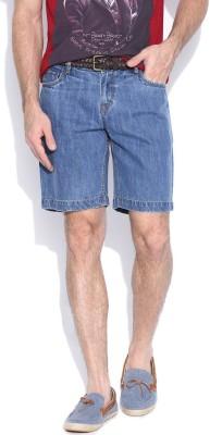 Hubberholme Solid Men's Blue Denim Shorts