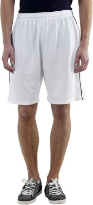 Meebaw Solid Men,s White, White, White, Red, Red Gym Shorts