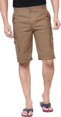 Brinley Solid Men's Brown Cargo Shorts