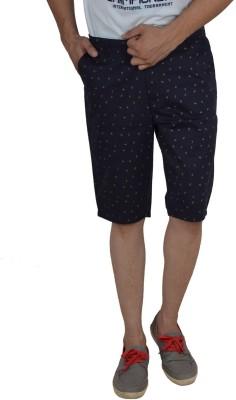 Studio Nexx Printed Men's Blue, Dark Blue Basic Shorts, Chino Shorts