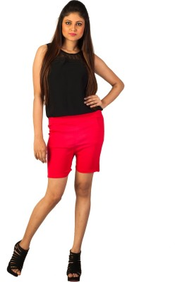 Berries Solid Women's Red Hotpants
