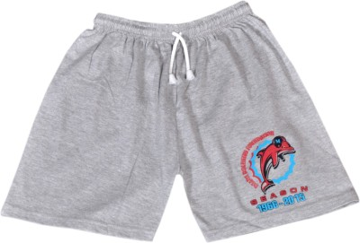 Frang Solid Boy's Grey Bermuda Shorts