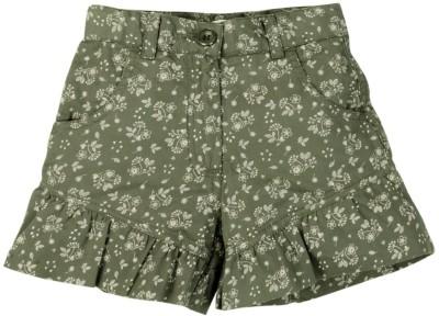 Oye Floral Print Girl's Grey Basic Shorts