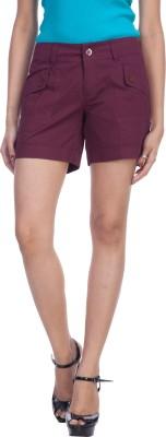 TrendBAE Solid Womens Maroon Basic Shorts