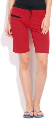 Happy Hours Solid Women's Red Bermuda Shorts