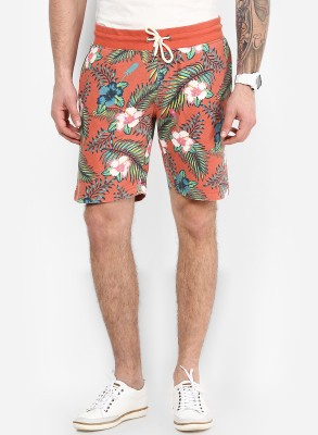 Jack & Jones Floral Print Men's Red Beach Shorts