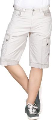 Hi-Sport Solid Men's White Basic Shorts