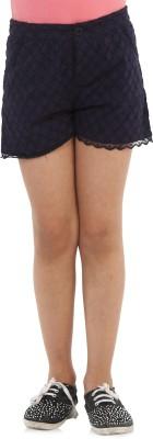 Oxolloxo Solid Girl's Dark Blue Basic Shorts