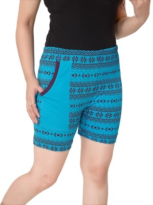Kuukee Printed Women's Blue Bermuda Shorts
