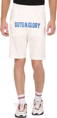GUTS N GLORY Printed Men's White Sports Shorts