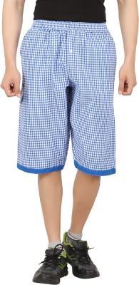 Sixer Knitting Checkered Men,s Light Blue Basic Shorts