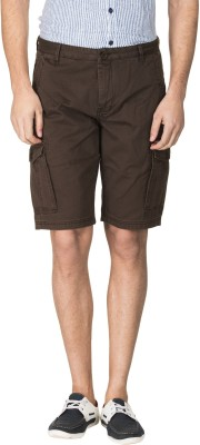 Zovi Solid Men's Brown Cargo Shorts