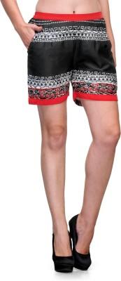 Natty India Printed Women's Black, Red Basic Shorts
