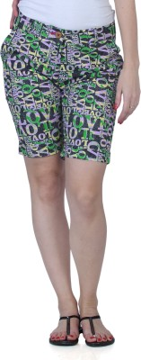 Fast n Fashion Printed Women's Green, Grey Night Shorts