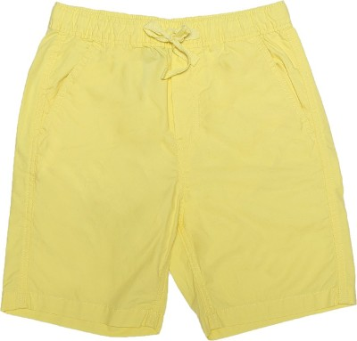 Flying Machine Solid Boy's Yellow Basic Shorts
