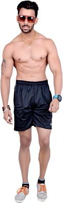 Dev Solid Men's Black Sports Shorts