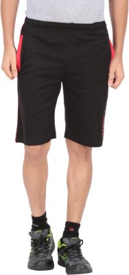 Indian Engineer Solid Men's Black, Red Basic Shorts