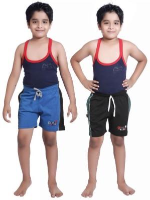 Red Ring Self Design Boy's Blue, Black Sports Shorts