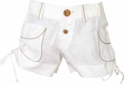 Lil Poppets Solid Boy's Linen White Basic Shorts