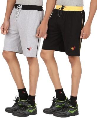 Meril Solid Men,s Grey, Black Sports Shorts