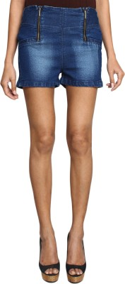 SMART DENIM Solid Women's Blue Denim Shorts